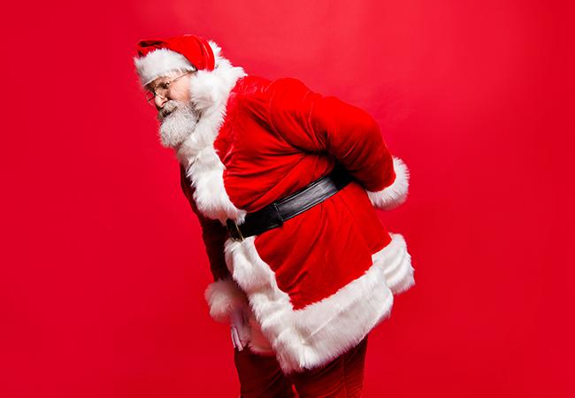 Santa with a hurt back